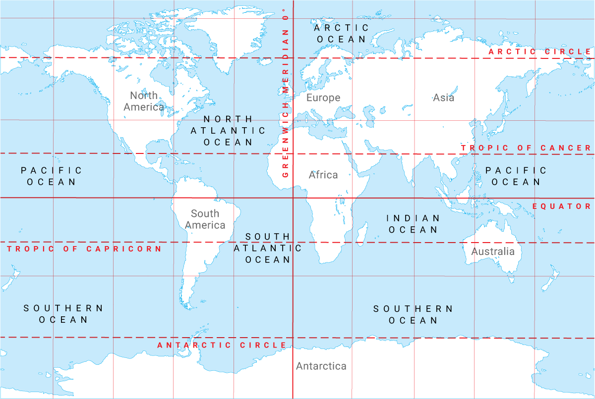 Continents Lines Of Latitude And Longitude Oceans And Ocean - Map with latitude and longitude represented as parallel